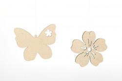 Decoratiune din lemn floare/fluture