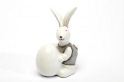 Decoratiune Iepuras gri cu ou, ceramica