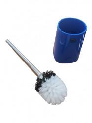 Perie wc cu suport ceramic, albastru, 40 cm