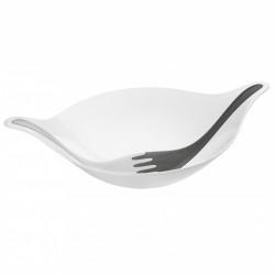 Bol cu ustensile pentru salata, alb cu gri, LEAF XL