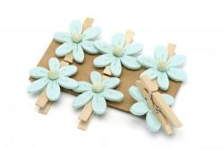 Cleme din lemn cu flori, verde