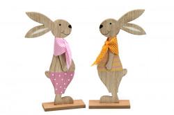 Decoratiune iepure portocaliu/roz, din lemn