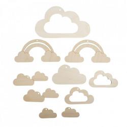 Set creativ din lemn , nori si curcubeu, 10 piese