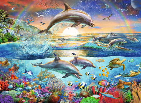 Puzzle Paradisul Delfinilor, 300 Piese