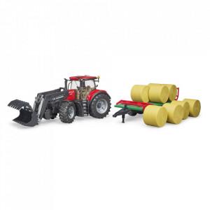 Bruder - Tractor Case Ih Optum 300 Cvx Cu Incarcator Frontal Si Remorca Transport Cu 8 Baloti