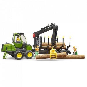 Bruder - Tractor Forestier John Deere 1210E Cu Graifer Si 4 Busteni