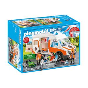 Set de joaca Playmobil City Life, Ambulanta Cu Lumini Intermitente