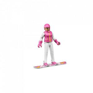 Bruder - Figurina Femeie Cu Snowboard