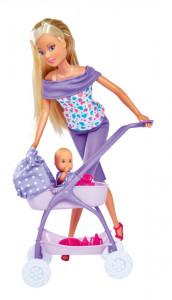 Papusa Steffi In Pantalonasi Mov Si Cu Carucior Bebe
