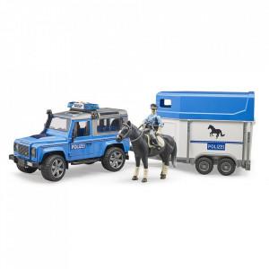 Bruder - Masina De Politie Land Rover Defender Cu Remorca, Politist Si Cal