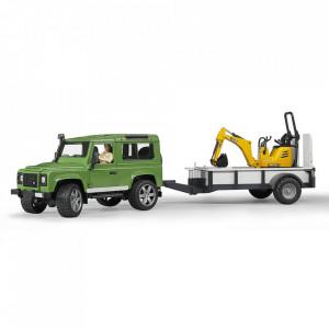 Bruder - Masina De Teren Land Rover Defender Cu Remorca Si Micro Excavator Jcb Cu Muncitor