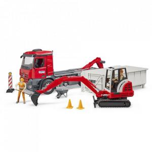 Bruder - Camion Cu Container Mercedes Benz Arocs Si Mini Excavator Schaeff