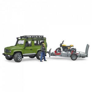 Bruder - Masina De Teren Land Rover Defender Cu Remorca Si Motocicleta Ducati