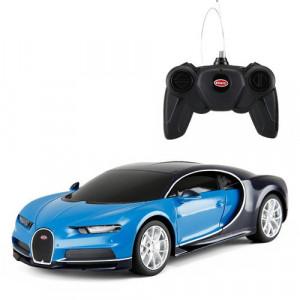 Masina Cu Telecomanda Bugatti Chiron Albastru Cu Scara 1 La 24