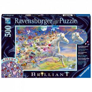 Puzzle Unicorni Si Fluturi, 500 Piese + Stickere