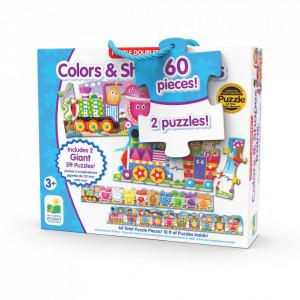 Set 2 Puzzle-Uri Trenul Urias Cu Culori Si Forme