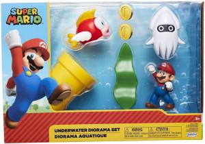Set de joaca diorama Super Mario Nintendo, model Underwater cu figurina 6 cm