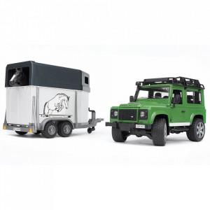 Bruder - Masina De Teren Land Rover Defender Cu Remorca Si Cal