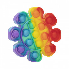 Jucarie antistres din silicon, Pop it Now and Flip It, Floare, Multicolor