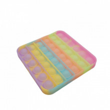 Jucarie antistres din silicon, Pop it Now and Flip It, model patrat Fosforescent, Multicolor