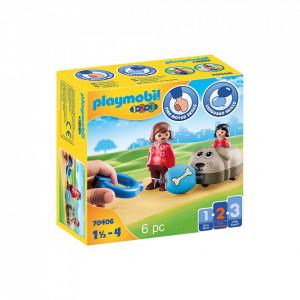 Playmobil 1.2.3 Mama Si Fetita Cu Masinuta Catel