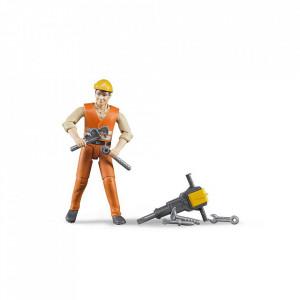 Bruder - Figurina Muncitor Constructii Cu Accesorii