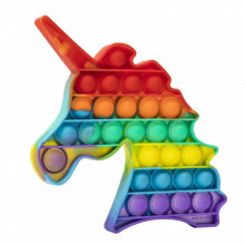 Jucarie antistres din silicon, Pop it Now and Flip It, Unicorn, Multicolor