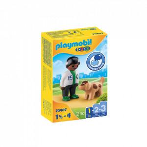 Playmobil 1.2.3 Veterinat Cu Catel