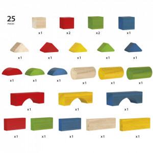 Set Blocuri Colorate Din Lemn 25 Piese