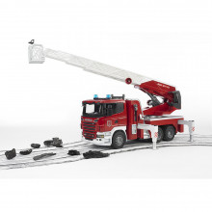 Bruder - Camion De Pompieri Scania R-Series Cu Scara, Pompa De Apa Si Sirena
