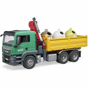 Bruder - Camion Man Tgs Cu 3 Containere De Reciclat Sticla
