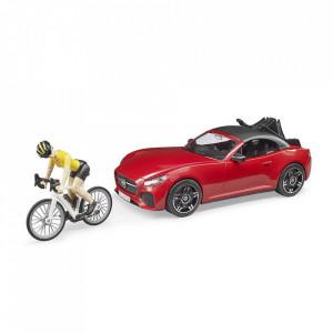 Bruder - Masina Roadster Cu Bicicleta Si Ciclist