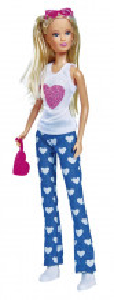 Papusa Steffi Jeans Fashion Cu Bluza Alba