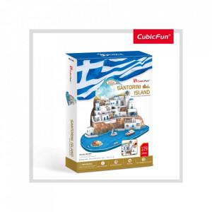 Puzzle 3D Insula Santorini (Nivel Complex 129 Piese)