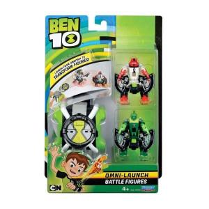 Ceas BEN 10 OMNITRIX cu lansator si 2 figurine de lupta - 4 Brate si Wildvine