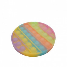 Jucarie antistres din silicon, Pop it Now and Flip It, model Disc Fosforescent, Multicolor