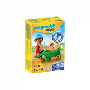 Playmobil 1.2.3 Muncitor Cu Roaba