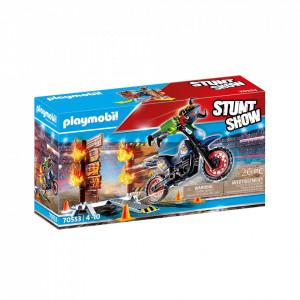 Set de joaca Playmobil Stunt Show - Motocicleta Cu Perete De Foc