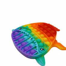 Jucarie antistres din silicon, Pop it Now and Flip It, model Rechin 19 cm, Multicolor