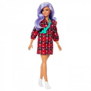 Papusa Barbie Fashionista Cu Parul Mov Si Rochita Cu Stelute