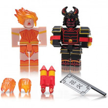 Set de joaca cu 2 figurine Roblox, model Celebrity Heroes Of Robloxia Ember & Midnight Shogun
