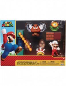 Set de joaca diorama Super Mario Nintendo, model Lava Castle cu figurina 6 cm