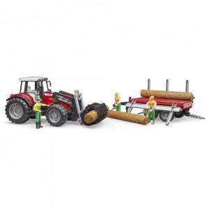 Bruder - Tractor Massey Ferguson 7480 Cu Incarcator Frontal Si Remorca Pentru Lemne