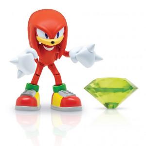 Figurina Articulata Sonic 10 Cm Cu Accesorii - Knuckles With Green Chaos Emerald