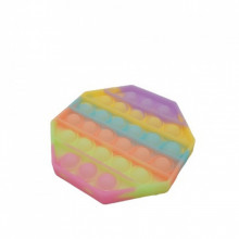Jucarie antistres din silicon, Pop it Now and Flip It, model Octogon Fosforescent, Multicolor