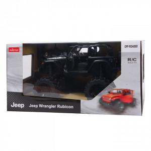 Masina Cu Telecomanda Jeep Wrangler Jl Negru Cu Scara 1 La 14