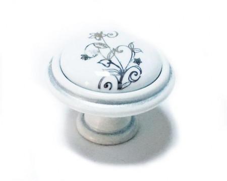 Buton mobila P88.00.F7.T4G model floare argintie Giusti