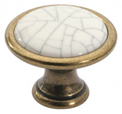 Buton mobila 1700-29ZN48PC5 bronz antic cu portelan spart Siro
