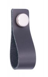 Buton mobila LE009-76LE5ZN27 piele neagra, inox Siro