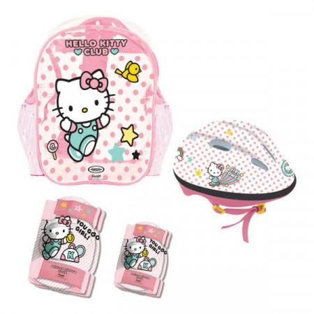 Echipament de protectie in rucsac, Casca, Cotiere si Genunchiere Hello Kitty